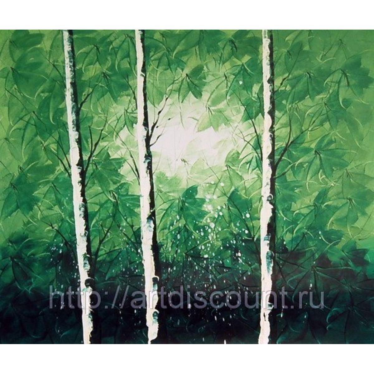 """Картина """"Зелёные берёзы"""" холст, масло, 50х60см"""