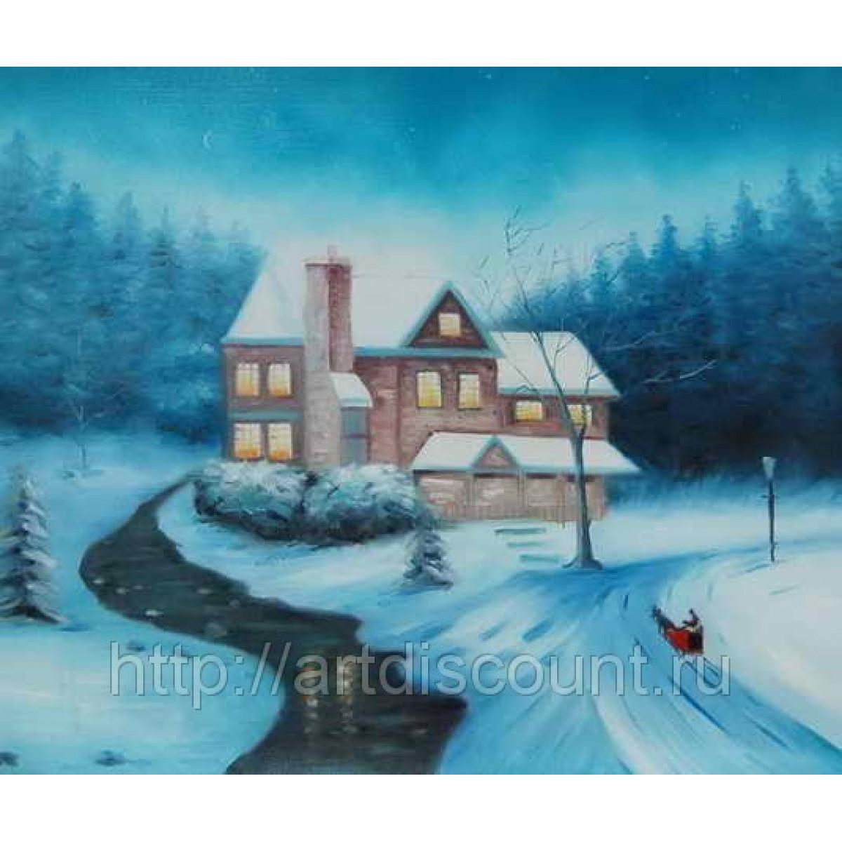 """Картина """"Зимний пейзаж"""" холст, масло, 50х60см"""