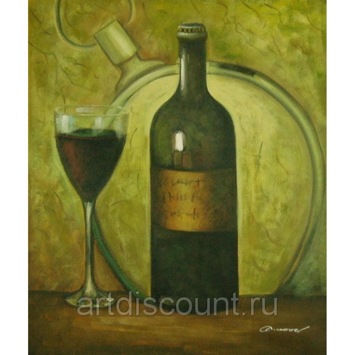 "Картина ""Бутылка и бокал"" холст, масло, 50х60см"