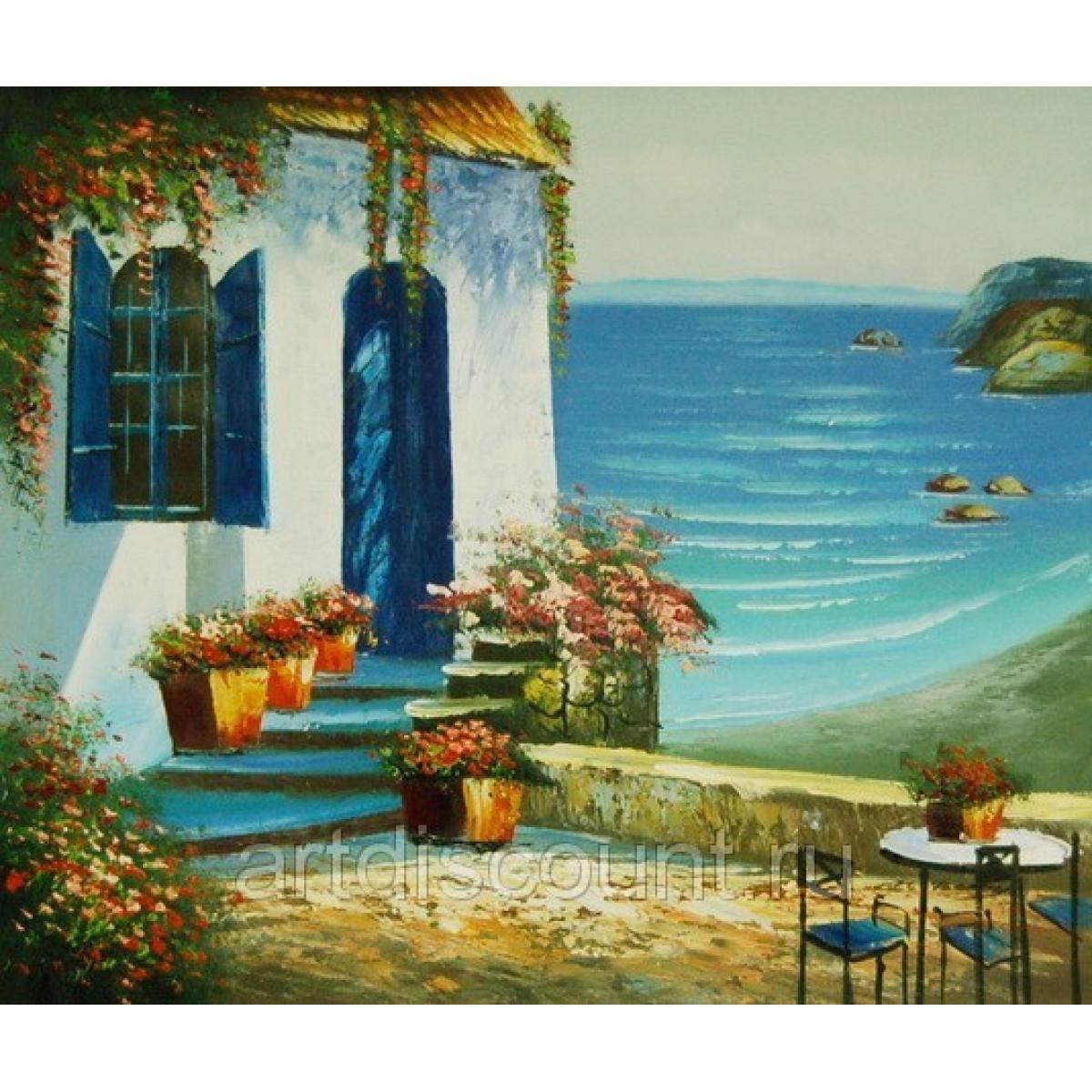 "Картина ""Средиземноморский пейзаж"" холст, масло, 50х60см"