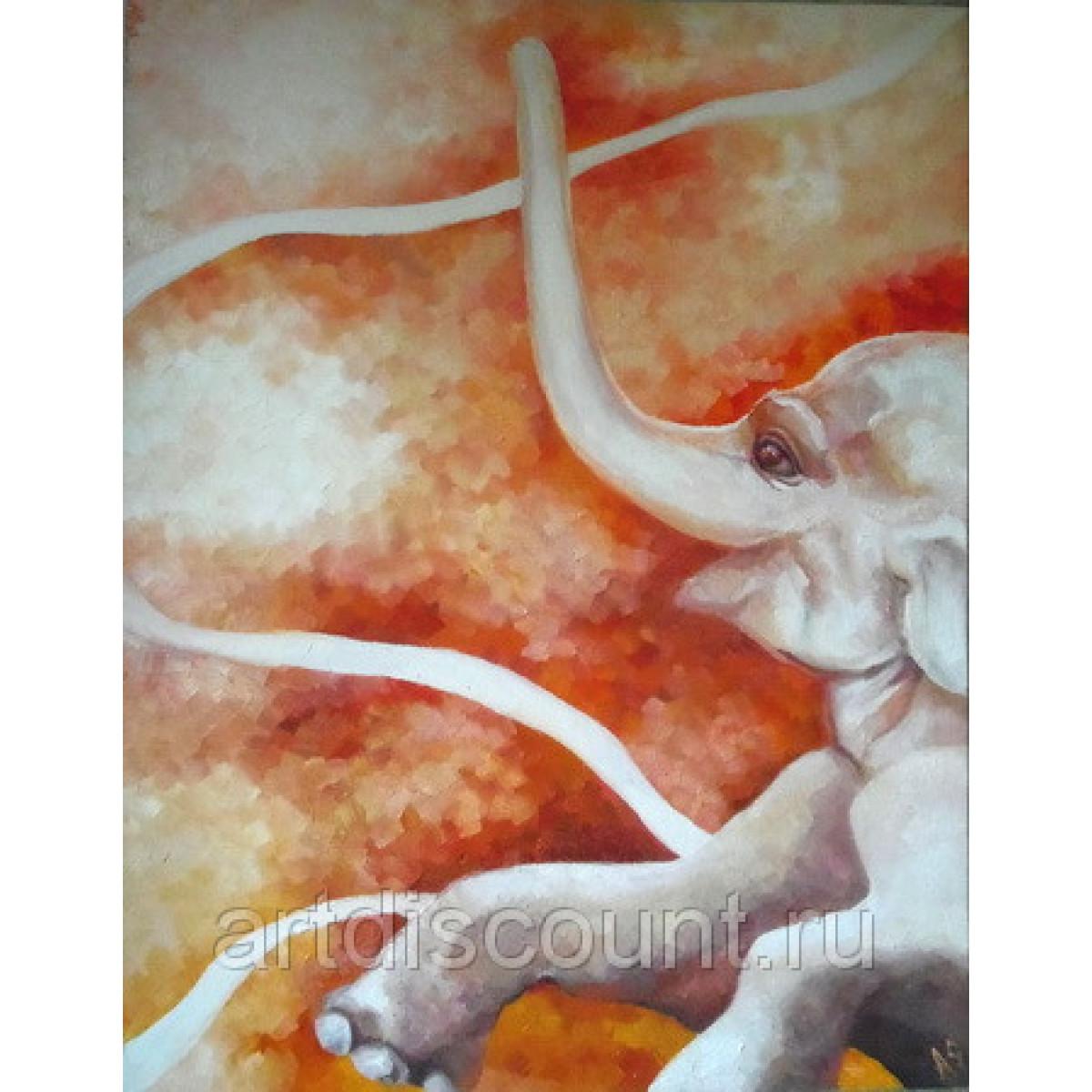 "Картина ""Веселый слон"" 110х80 см, холст, масло"