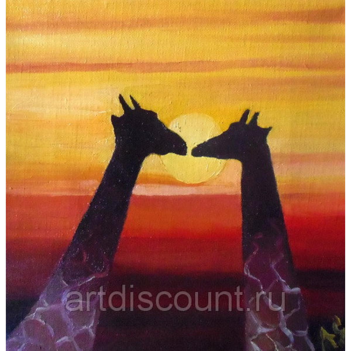 """Картина """"Жирафы"""" 15x15см , холст. масло"""