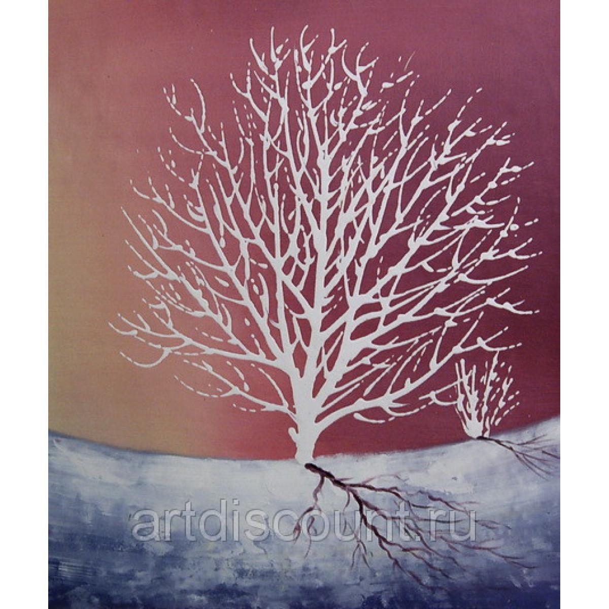 """Картина """"Белое дерево"""" холст. масло. 50х60"""