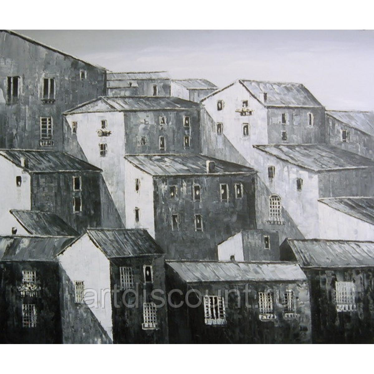"Картина ""Черно-белый город"" холст, масло, 50х60см"