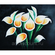 "Картина  ""Белые цветы на черном фоне"" холст, масло, 50х60см"