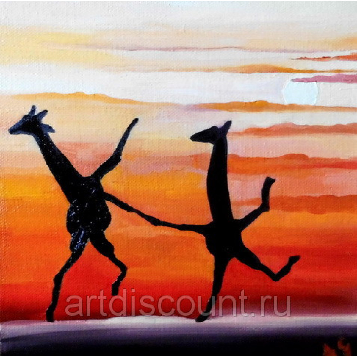 """Картина """"Энергичный танец"""" 20х20 холст. масло"""