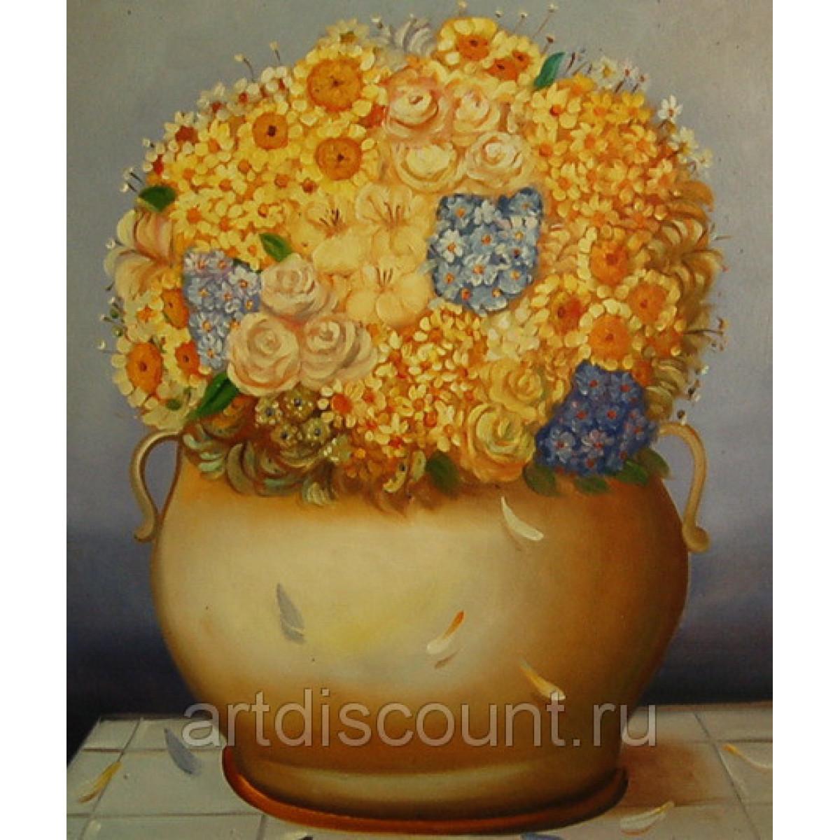"Картина ""Букет в желтой вазе"" 50х60см холст, масло"