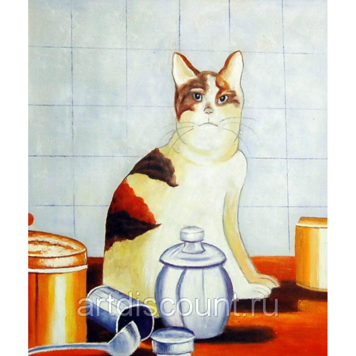 "Картина ""Недовольная кошка"" 50х60см, холст. масло"
