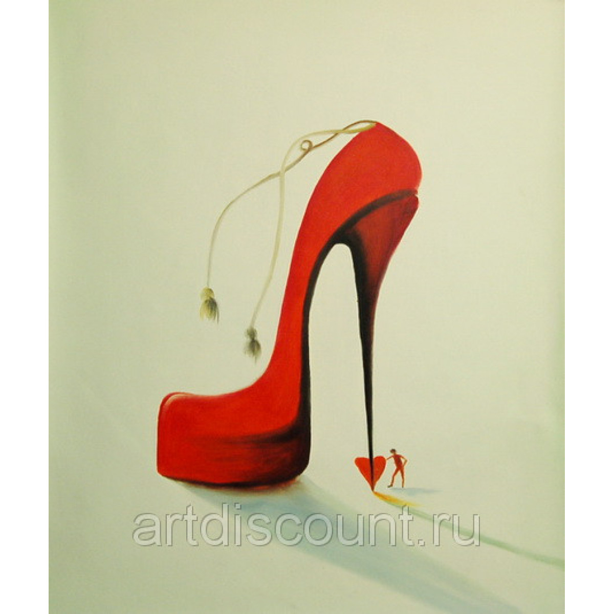 "Картина ""Красная туфелька"", холст, масло, 50х60см"