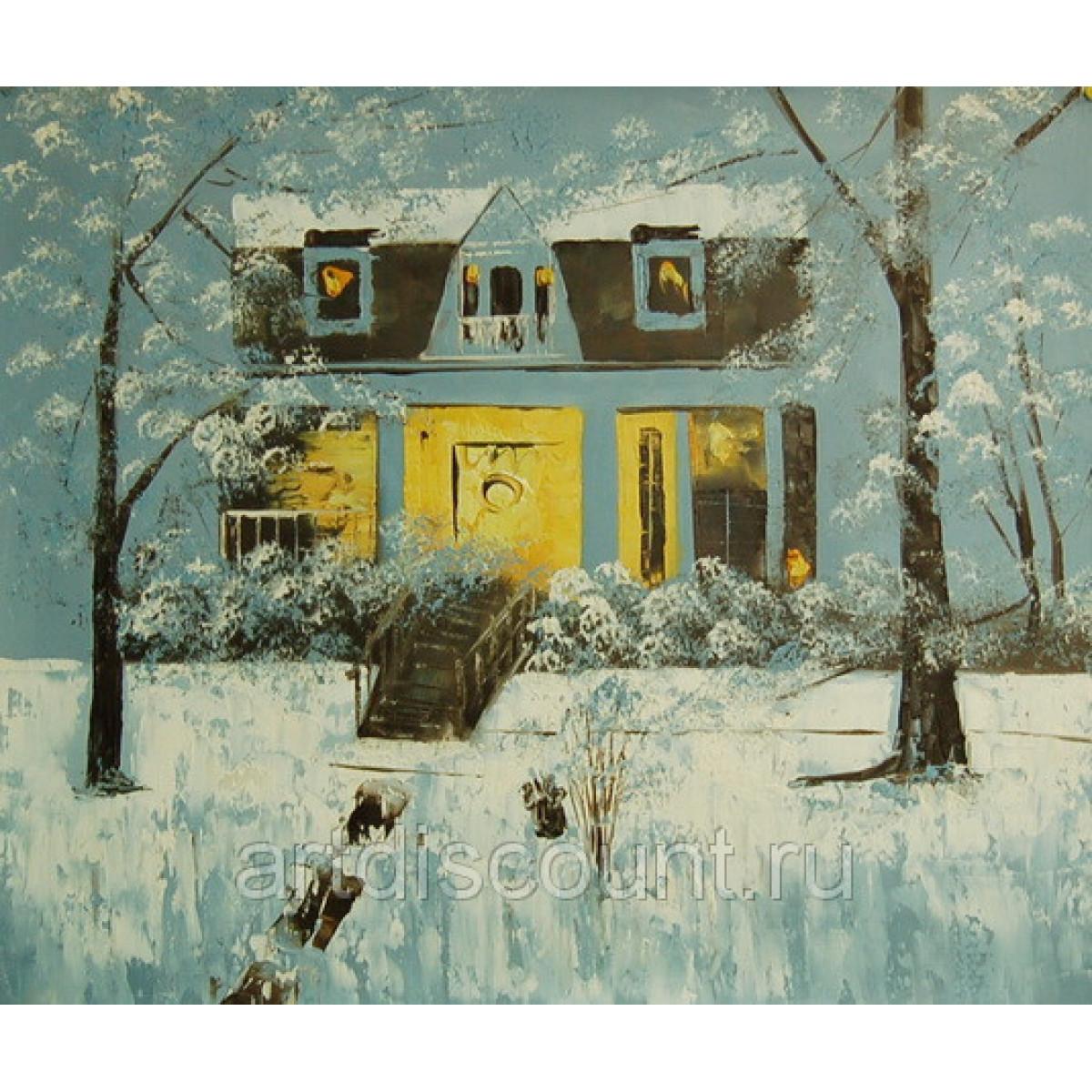 "Картина ""Зимний дом"" холст, масло, 50х60см"