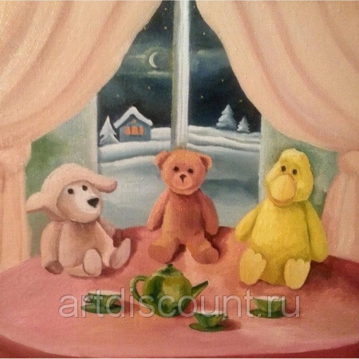 "Картина ""Новогоднее чаепитие"" 40х40см, холст, масло"