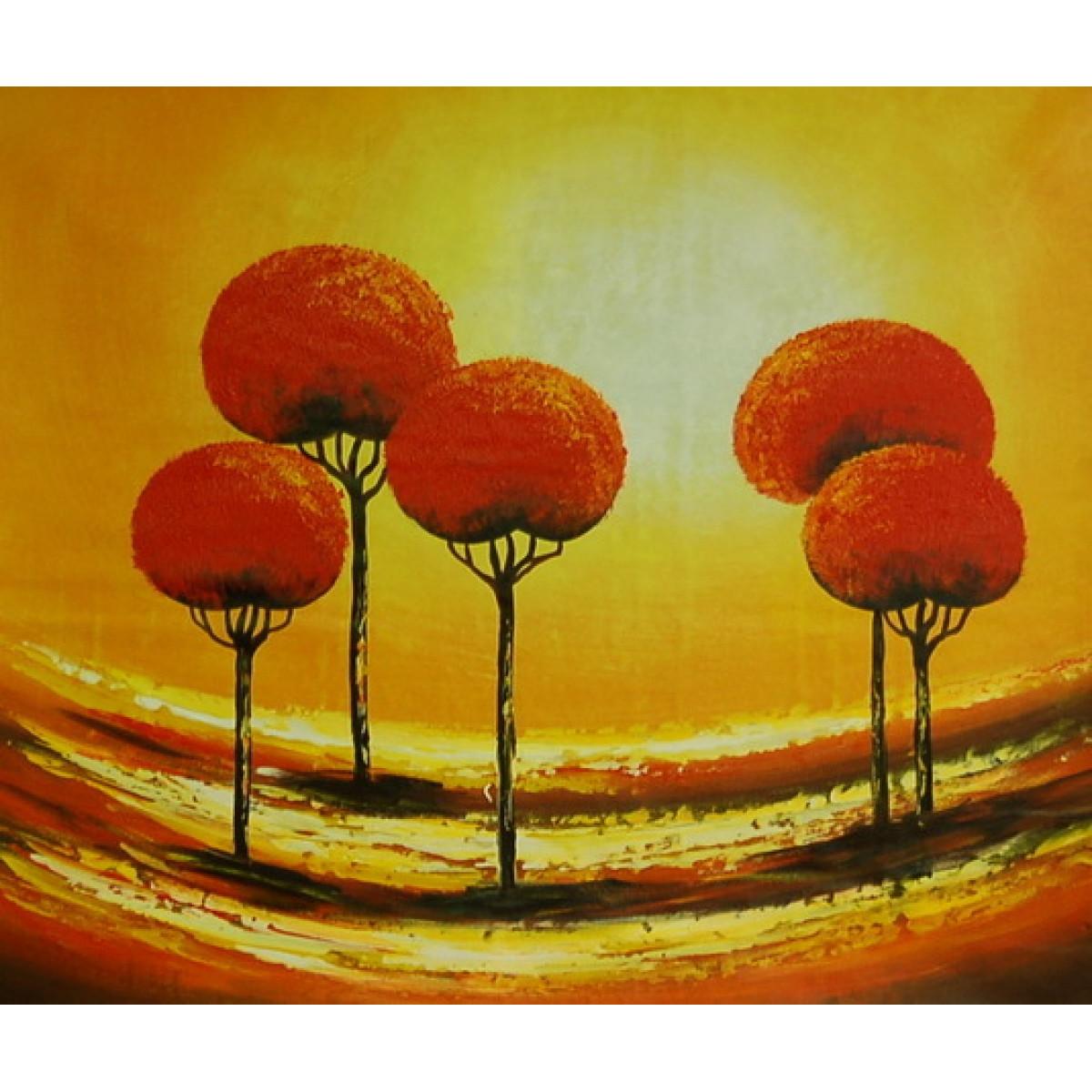 Картина Абстракция 5 деревьев, холст, масло, 50х60см