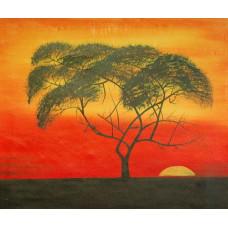 "Картина  ""Африканский закат"", холст, масло, 50х60см"