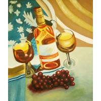 """Картина """"Бутылка и виноград"""" Холст, масло, 50х60см"""