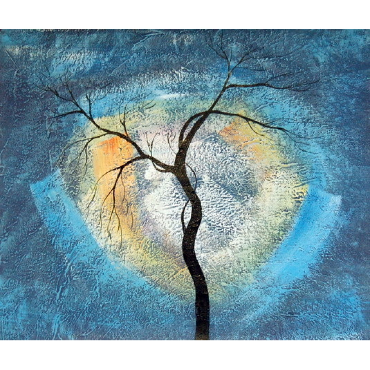 "Картина ""Черное дерево на синем фоне"", холст, масло, 50х60см"