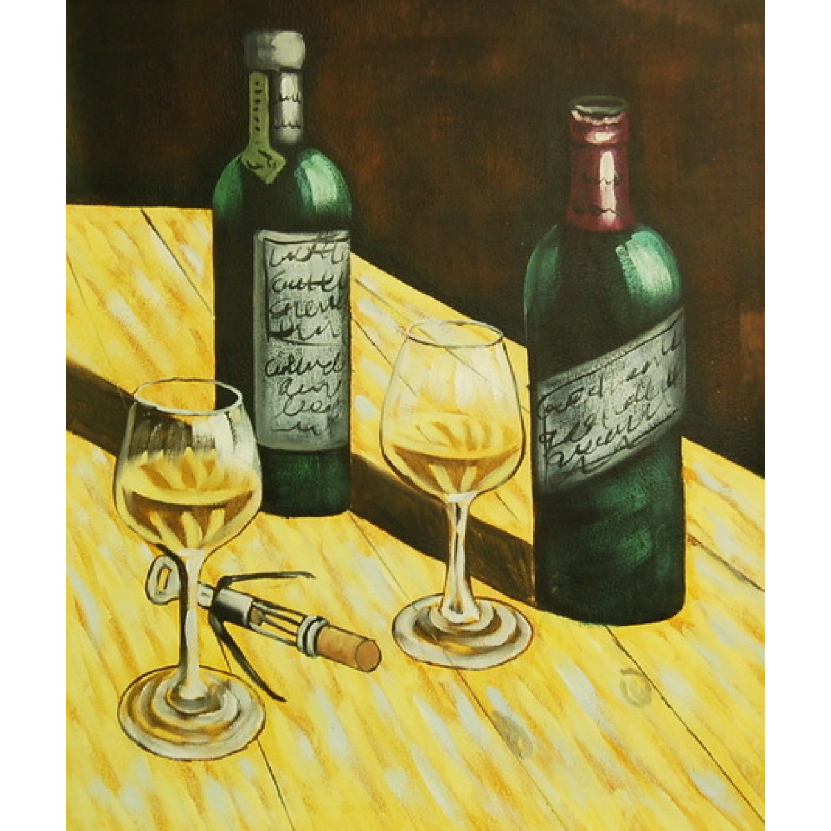 """Картина """"Две бутылки"""" , холст, масло, 50х60см"""
