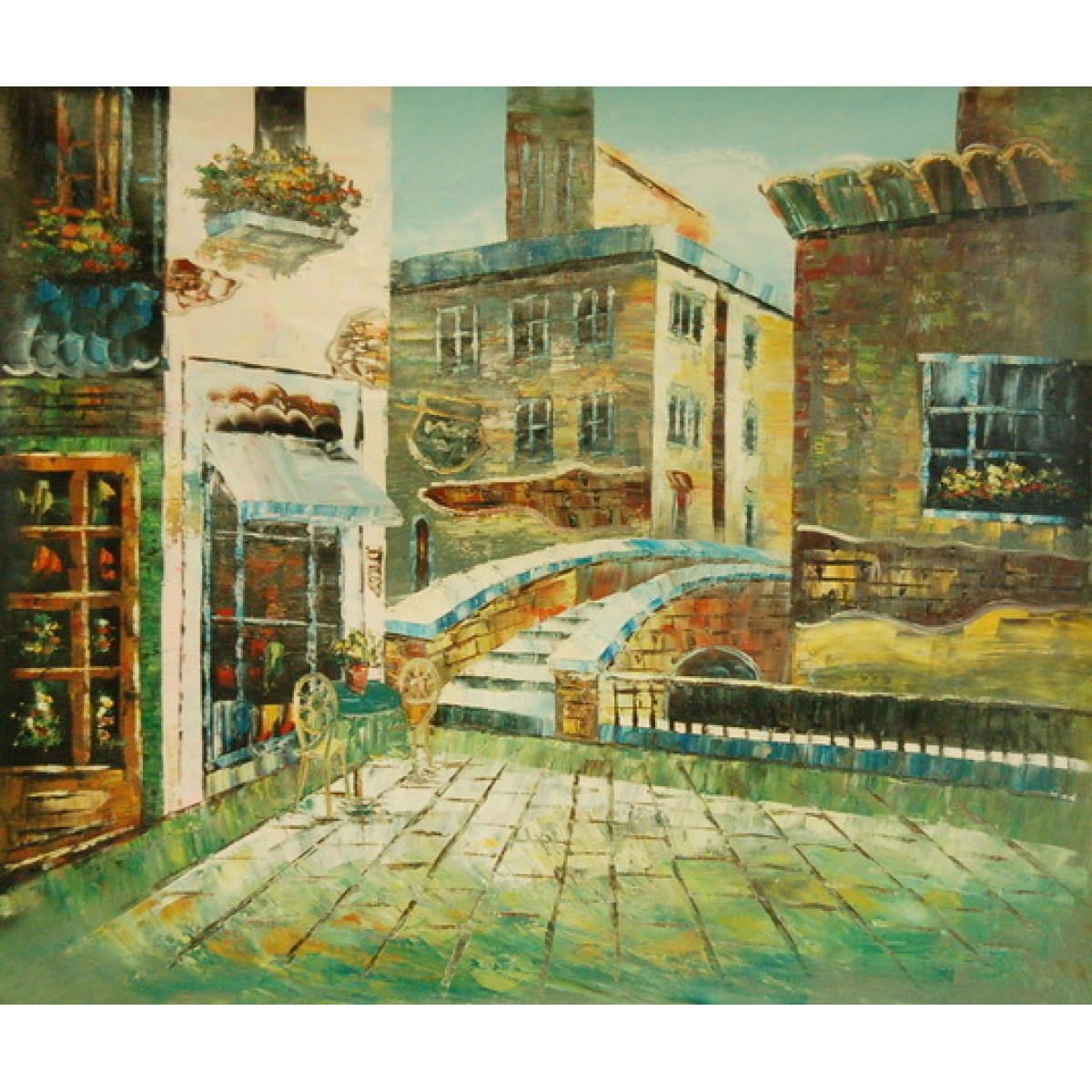 """Картина """"Итальянский городок"""", холст, масло, 50х60см"""