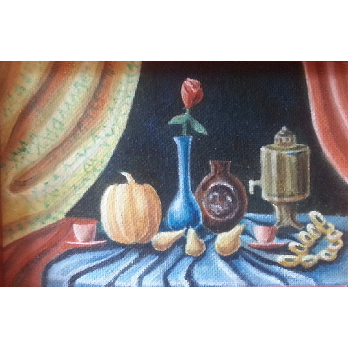 Картина Летний стол, холст, масло, 10х15