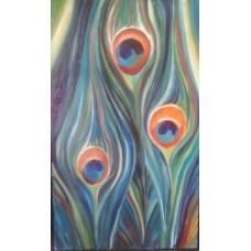 Картина Павлин, холст, масло, 30х50см