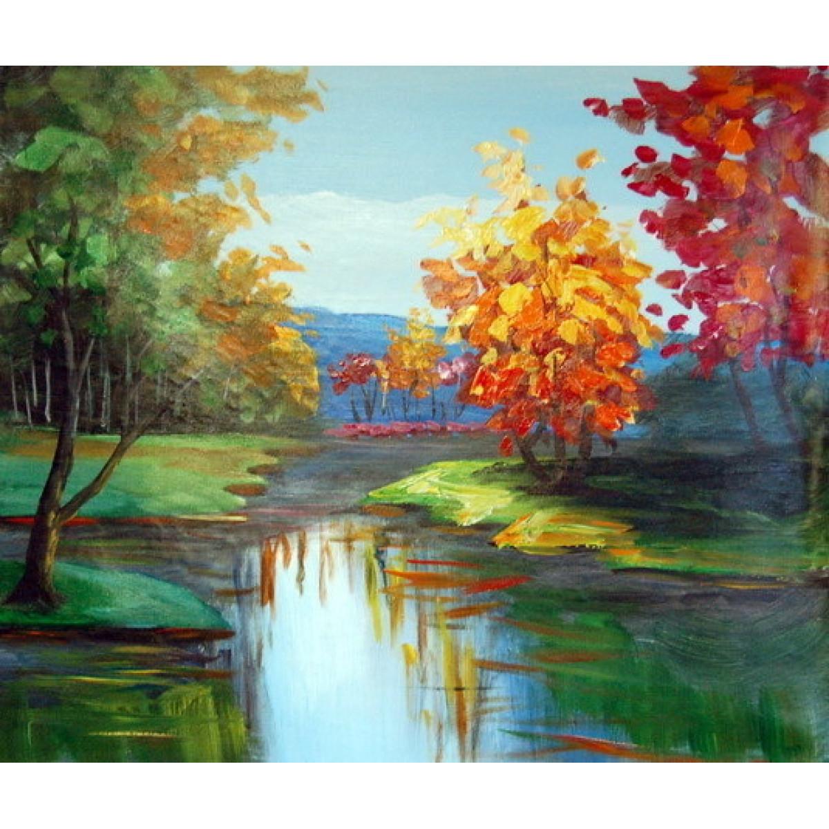 "Картина ""Разноцветный лес"", холст, масло, 50х60см"