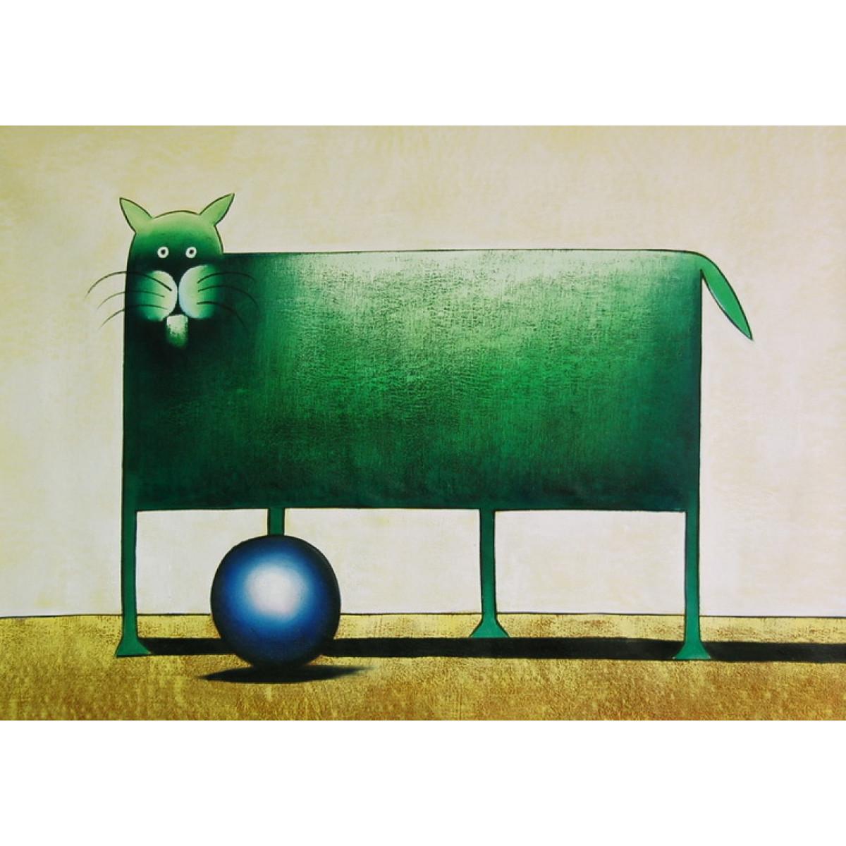 """Картина """"3еленый кот с синим шаром"""" , холст, масло, 60x90см"""