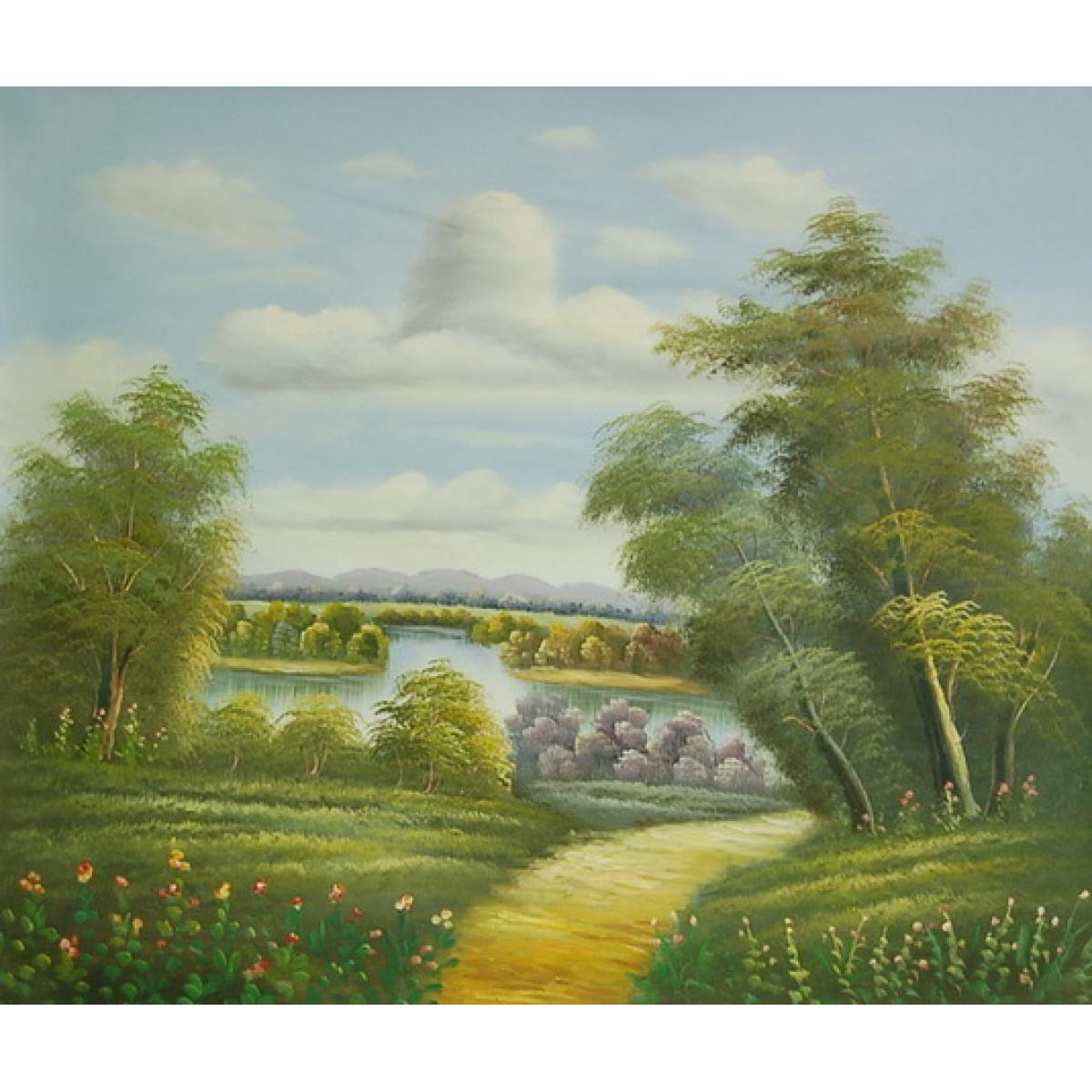 """Картина """"Летний день у озера"""" , холст, масло, 50x60см"""