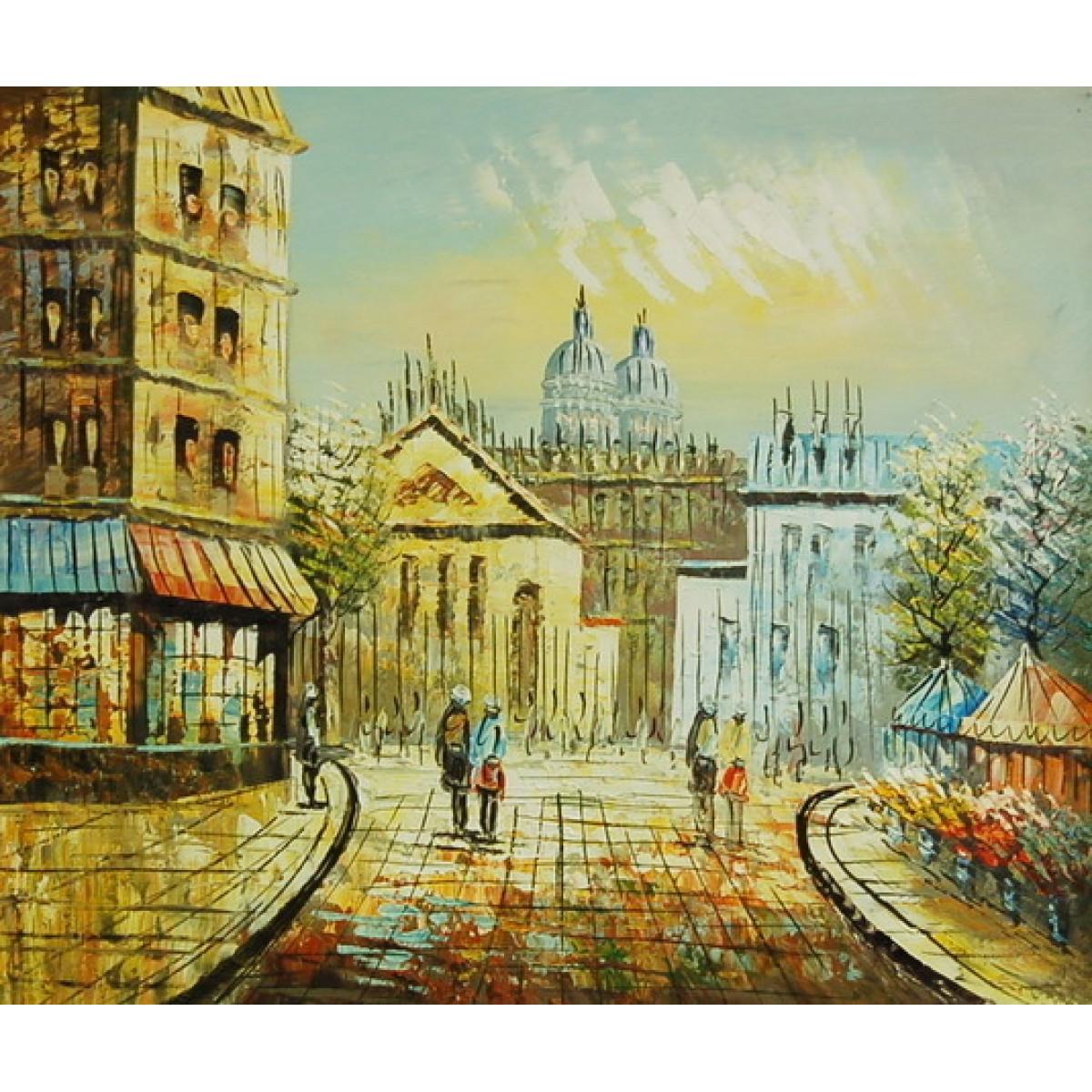 """Картина """"Парижский вид"""" , холст, масло, 50x60см"""