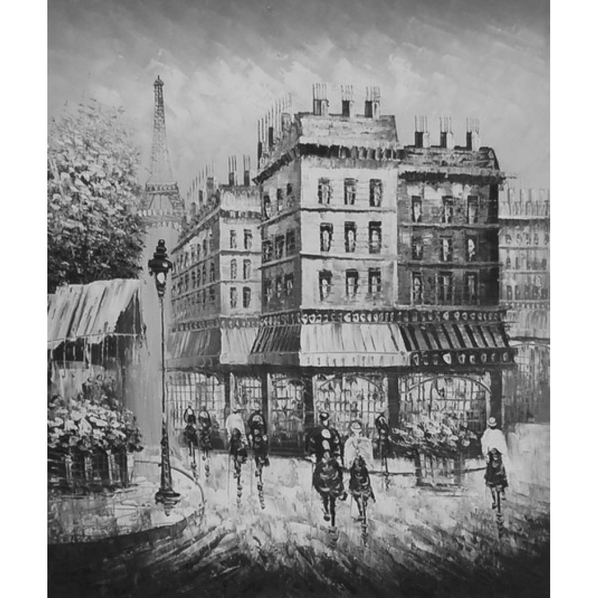 "Картина ""Черно-белый Париж"" холст, масло, 50х60см"