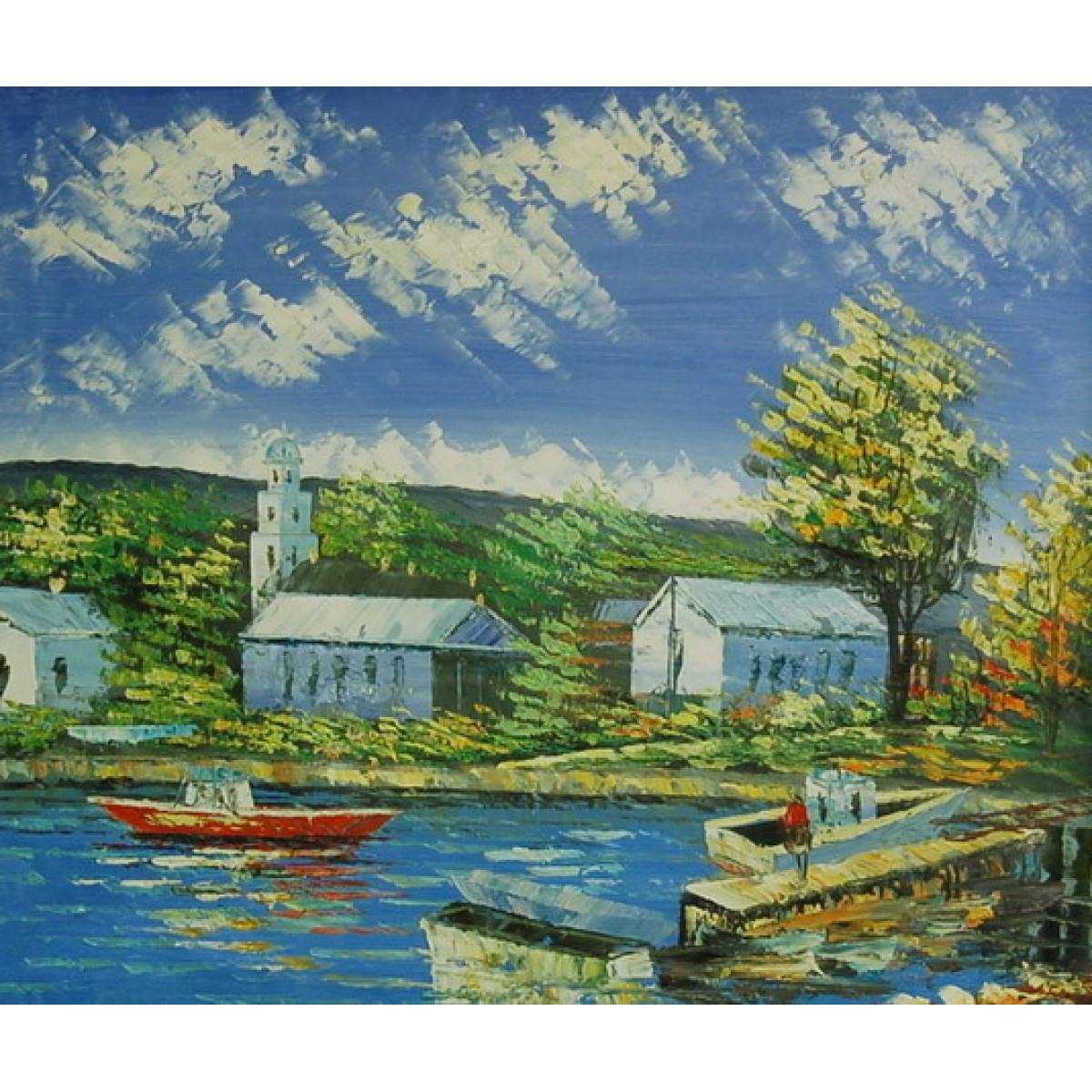 "Картина ""Деревенская пристань"" , холст, масло, 50x60см"