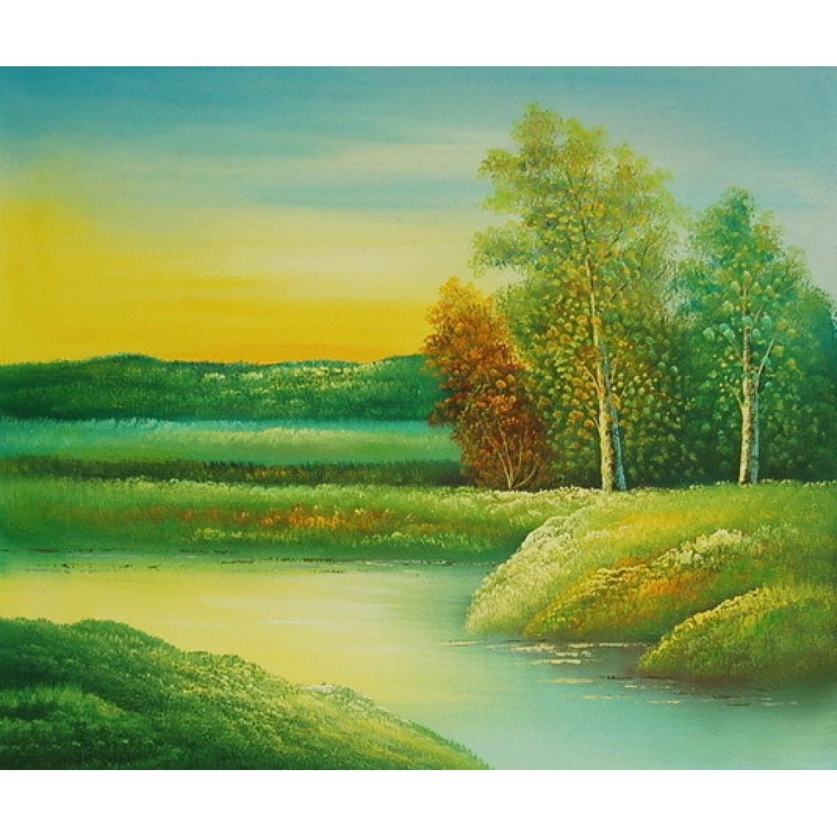 "Картина ""Вид на реку"", холст, масло. 50х60см"