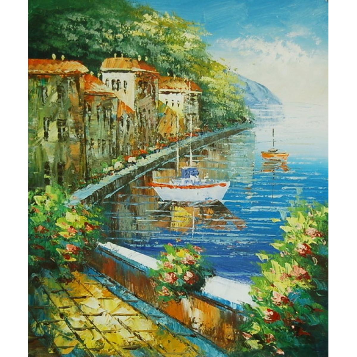 """Картина """"Вид на яхту с набережной"""" , холст, масло, 50x60см"""