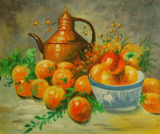 картина кувшин и яблоки